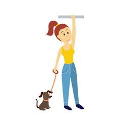 Woman holds the handrail keeping dog leash vector
