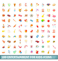 100 entertainment for kids icons set vector