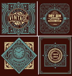 4 old labels with floral ornaments vector image