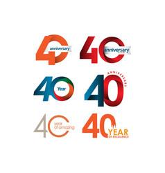 40 year anniversary set template design vector