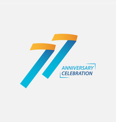 77 year anniversary celebration template design vector