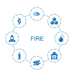 8 fire icons vector