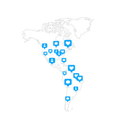 america map with social likes and comments blue vector image