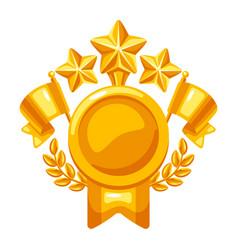 award and trophy emblem reward item sports vector image