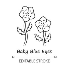 Baby blue eyes linear icon thin line linen vector