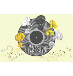 Background with gramophones sketches vector