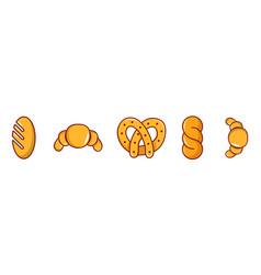 bakery icon set cartoon style vector image