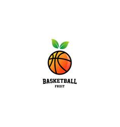 Basketball fruit logo design vector