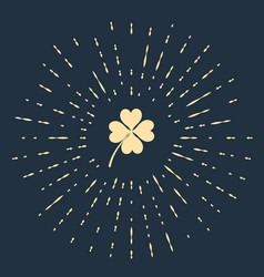 beige four leaf clover icon isolated on dark blue vector image