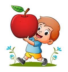 Boy is holding red ripe apple vector