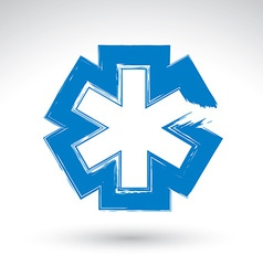Brush drawing simple blue ambulance symbol vector image