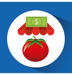 Buying online tomato vegetable icon vector
