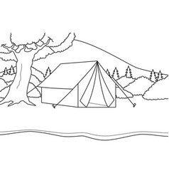 camping on a tent at river side with mountain vector image