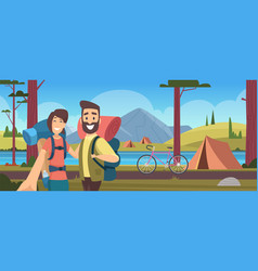 camping relax vacation on nature forest camp vector image