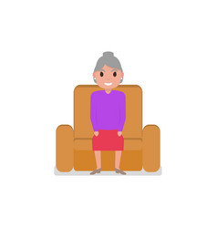 Cartoon grandmother sitting in a armchair vector