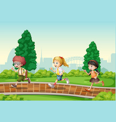 children running in park vector image
