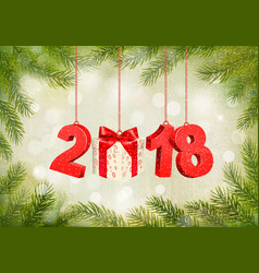 Christmas holiday background with a 2018 and a vector