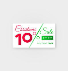 christmas sale10 percent discount coupon vector image