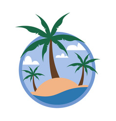 circular palm trees beach tropical island travel vector image