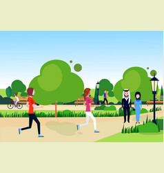 city park mix race arab couple walking relax vector image