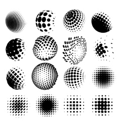 collection halftone sphere logo set vector image