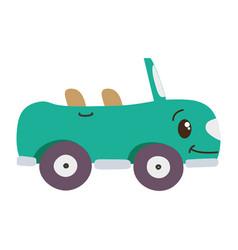 Colorful kawaii happy sport car transport vector