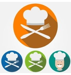 Cooks hat with knife and spoon vector