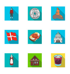 Country denmark sea and other web icon in flat vector