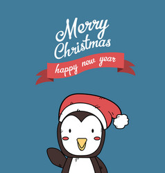 cute penguin christmas greeting card vector image