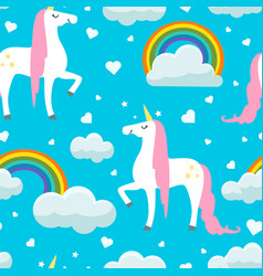 cute unicorns clouds and rainbows seamless vector image