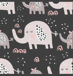 Dark elephants family pattern vector