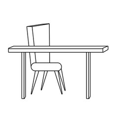 desk and chair furniture black and white vector image