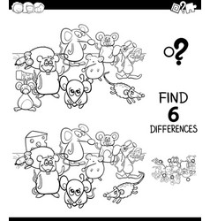 Differences color book with mice animal characters vector