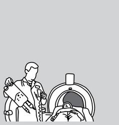 doctor preparing mri scanner for patient vector image