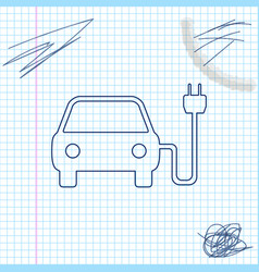 electric car and electrical cable plug charging vector image