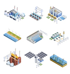 Electricity Generation Plants Images Set vector