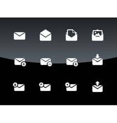Email icons on black background vector image