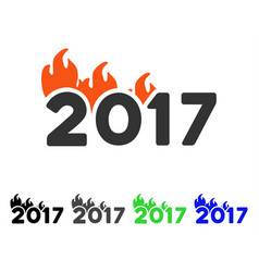Fired 2017 year caption flat icon vector