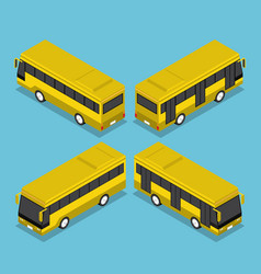 Flat 3d isometric public transport bus service vector