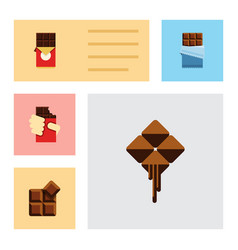 flat icon bitter set of bitter chocolate bar vector image