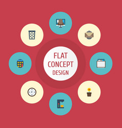 flat icons calculate whiteboard trash basket and vector image