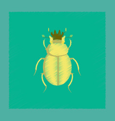 Flat shading style bug scarab vector