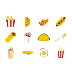 food icon set flat style vector image