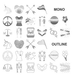 Gay and lesbian monochrom icons in set collection vector