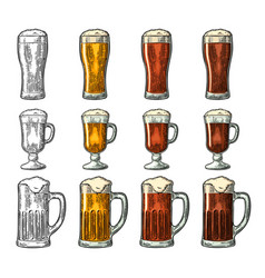 Glass with three types beer vintage black and vector