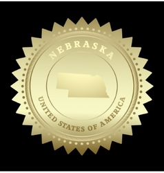 Gold star label Nebraska vector