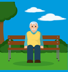grandfather seated on wooden chair vector image