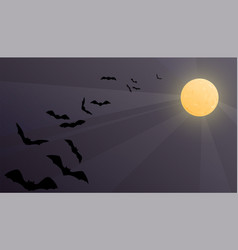 halloween background with shiny moon vector image