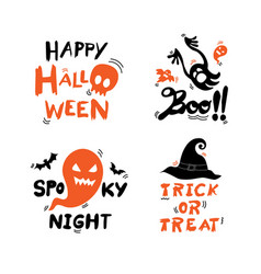 halloween lettering set there are four phrases vector image