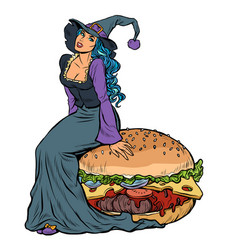 halloween witch sitting on a burger festive menu vector image